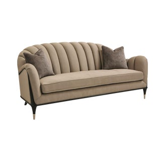 Modern Caracole Taupe Channel Surfing Sofa For Sale