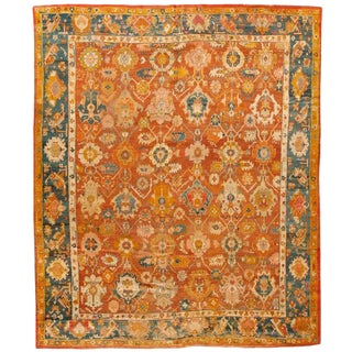 Exceptional Mid-19th Century Turkish Oushak Carpet For Sale