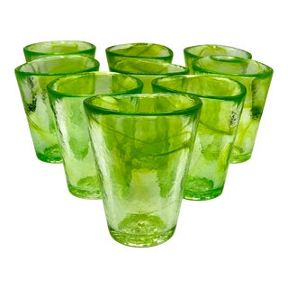 Kosta Boda Mine Glasses in Neon Lime by Ulrica Hydman-Vallien - Set of 9 For Sale