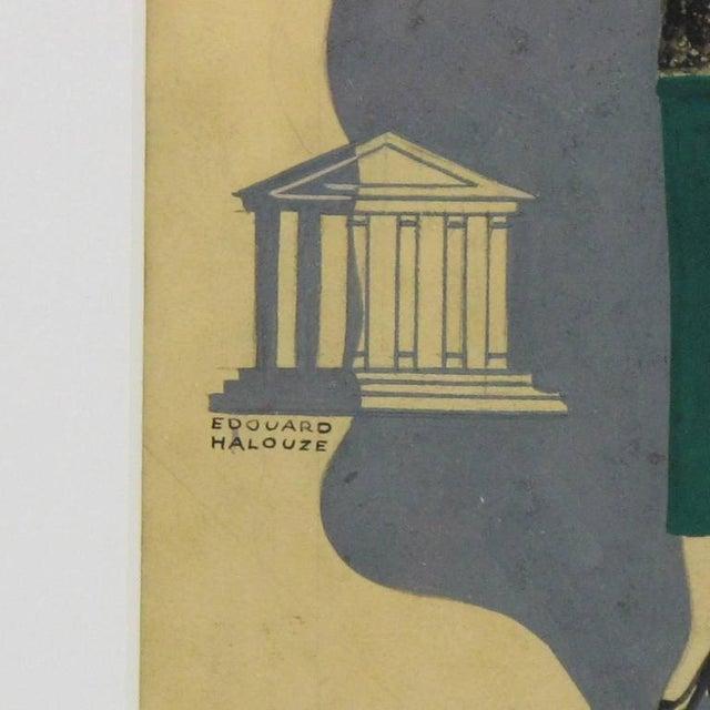 Edouard Halouze French Art Deco Fashion Illustration Drawing - Image 3 of 7
