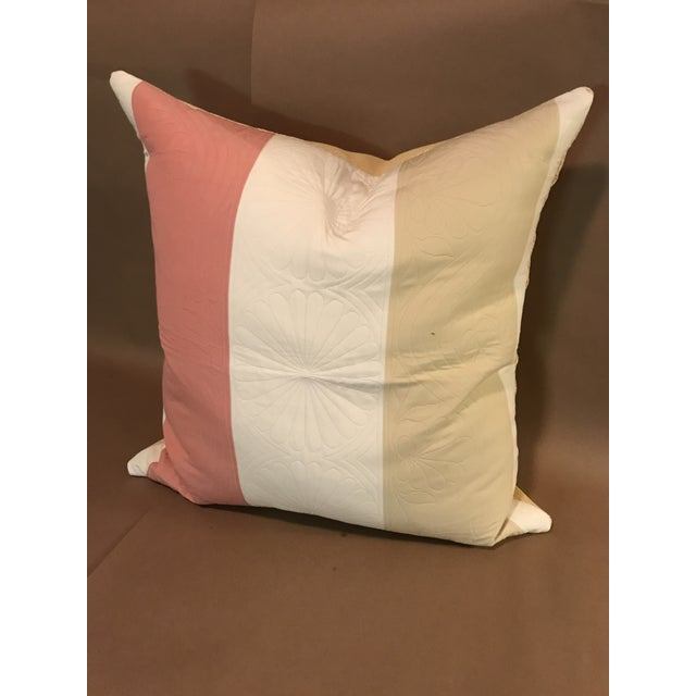 Lg. Pillow in Pierre Frey Pink, Cream and Tan wide Stripe on a Matelasse ground with a shell motif. The back is a sturdy...