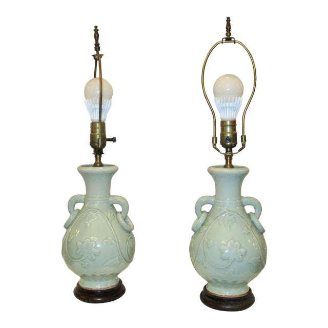 Celadon Vases Mounted as Lamps - a Pair For Sale