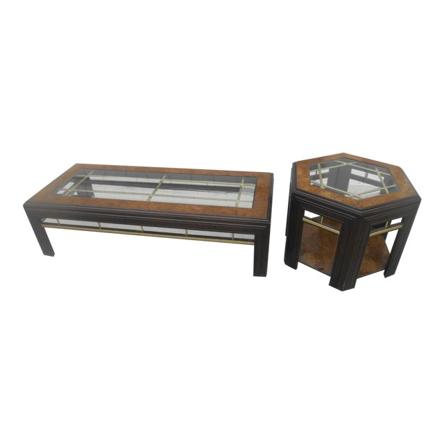 Mid-Century Modern Milo Baughman Style Coffee/ End Table Set - 2 Pc. For Sale