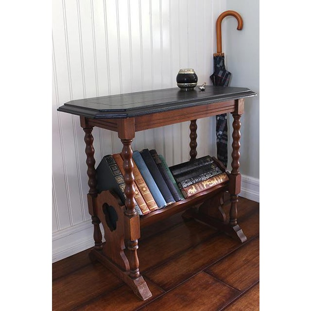 Vintage Victorian Accent Table With Slanted Bookshelf For Sale