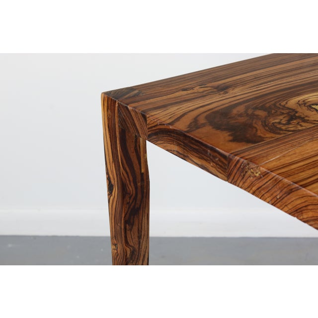 Danish Modern 1970s Danish Modern Zebra Wood Writing Desk/Console Table For Sale - Image 3 of 7