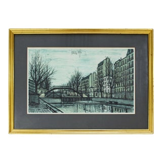Mid Century Modern Bernard Buffet St Martins Canal 1956 French Lithograph Signed For Sale