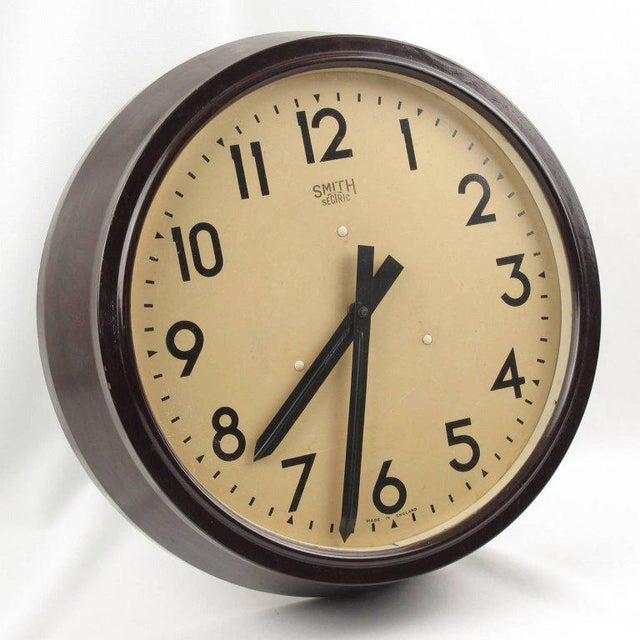 Smith Huge Industrial Factory English Art Deco Bakelite Wall Clock - Image 7 of 10