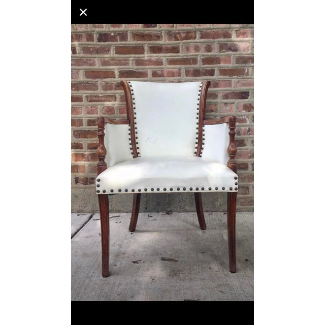 Vintage White Leather Chair For Sale - Image 4 of 4