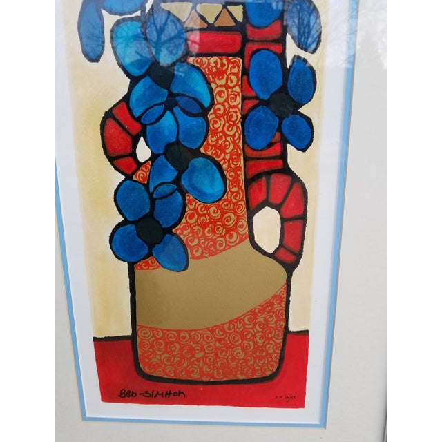 "Late 20th Century ""Blue Flowers"" Serigraph by Avi Ben Simhon For Sale - Image 5 of 13"