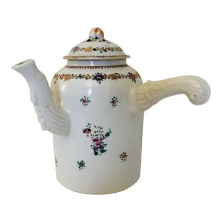 18th C. Chinese Export Porcelain Chocolate Pot For Sale