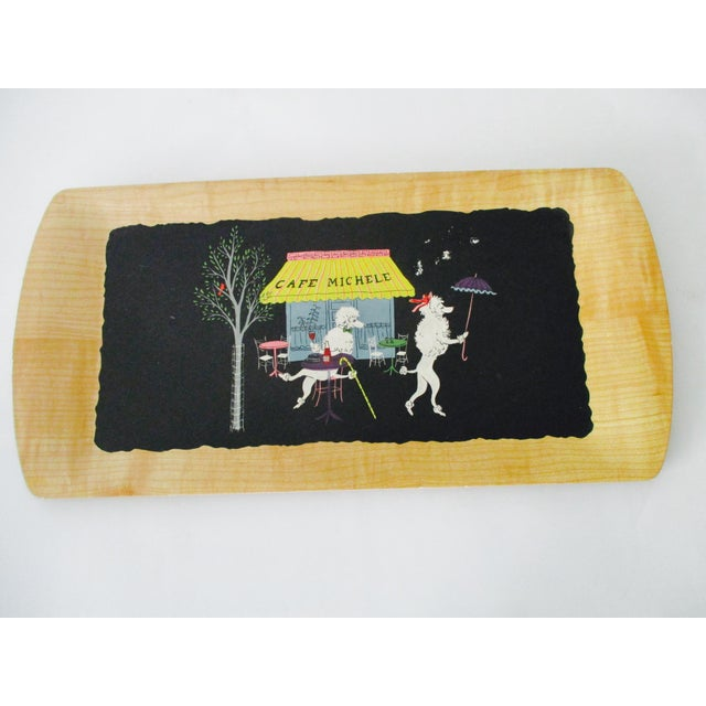 French Serving Tray - Set of 4 Poodles Dogs French Poodle Fifi and Pepe For Sale - Image 5 of 9