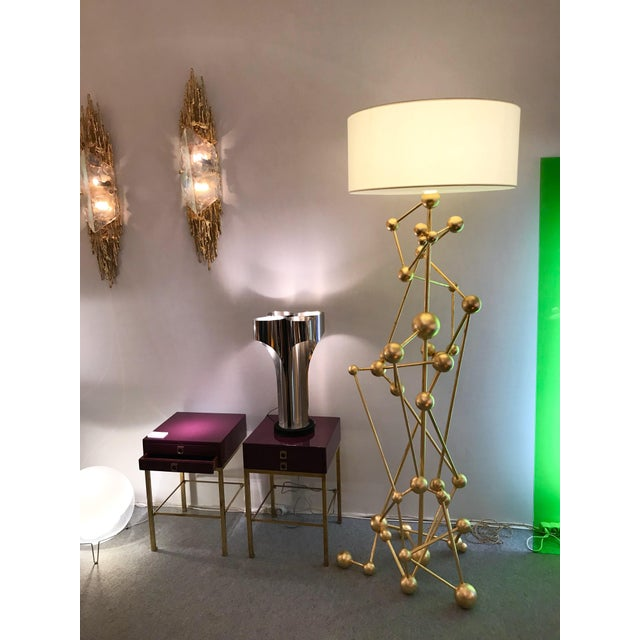 Gold Floor Lamp Atomica Iron Gold Leaf by Antonio Cagianelli, Italy, 2018 For Sale - Image 8 of 12