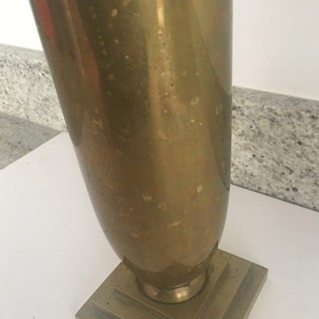 Gold Vintage Art Deco Style Fluted Brass Vase For Sale - Image 8 of 9
