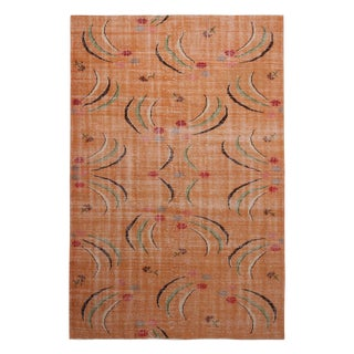 Vintage Mid-Century Peach Pink and Green Geometric Wool Rug For Sale