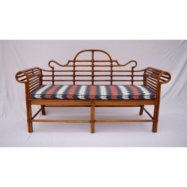 Wood Lane Furniture Bamboo Caned Rattan Chinoiserie Sofa For Sale - Image 7 of 13