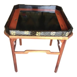 Koa Wood Side Table With Lacquer Tray 25""