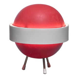 Red and white Stilux table lamp, Italy, 1950s For Sale