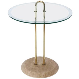 Italian Brass & Travertine Accent Table For Sale