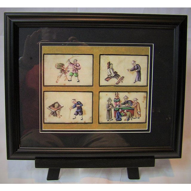 19c Chinese Hand Painted Silk Collage of Chinese Tortures For Sale - Image 4 of 4