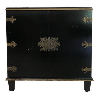 Small Art Deco Ebonized Credenza With Chinoiserie Influence by Berkey and Gay For Sale