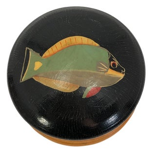 Late 20th Century Hand-Painted Fish Round Wooden Trinket Box For Sale