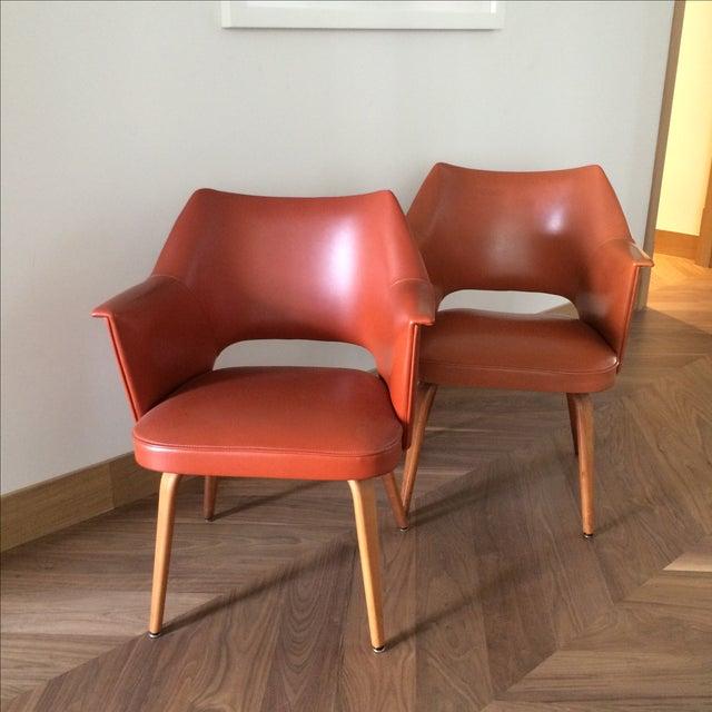 Thonet Mid-Century Burnt Orange Chairs - A Pair - Image 2 of 10