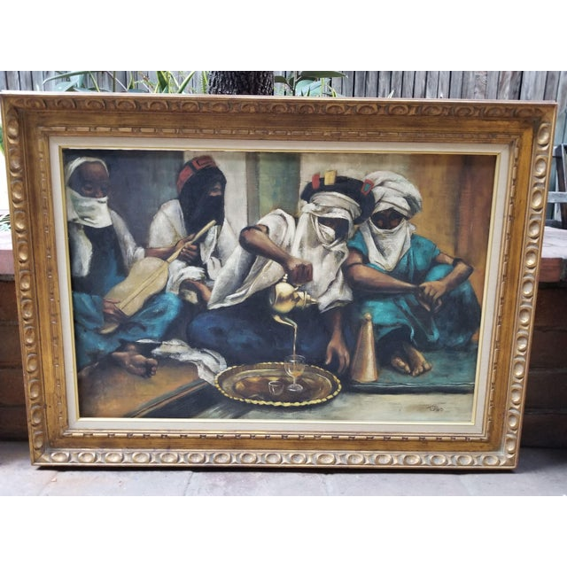 """1990s Jenine Tomao """"Coffee Drinkers"""" Oil on Canvas Painting For Sale - Image 12 of 12"""