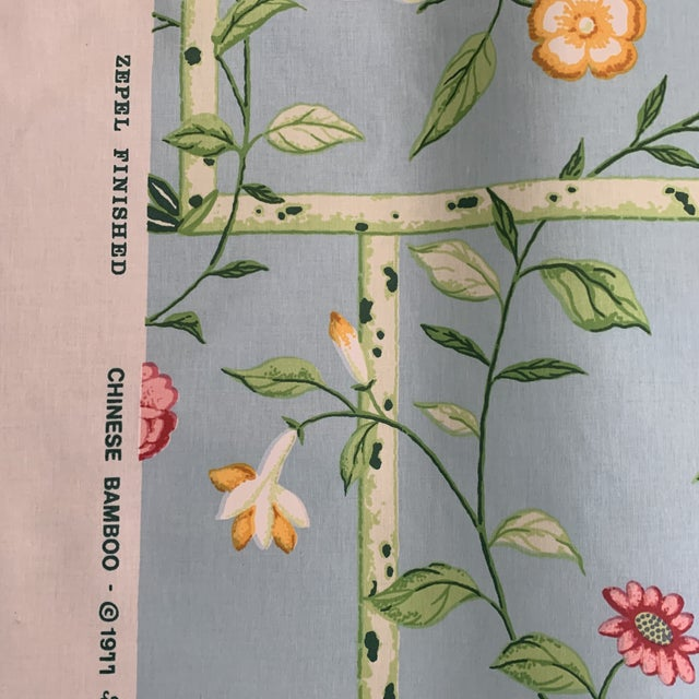 2010s Vintage 1977 Brunschwig & Fils Sky Blue Chinese Bamboo Chintz Fabric- 2 Yards For Sale - Image 5 of 11