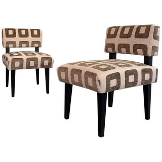 Custom Upholstered Maple Slipper Chairs - a Pair For Sale