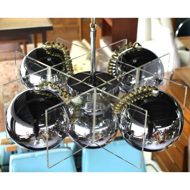 Early 20th Century Lucite and Chrome Domes Mid-Century Modern Light Fixture For Sale - Image 5 of 7