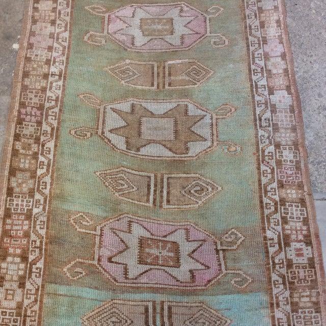"Vintage Turkish Anatolian Runner Sea Green 7'9""x3' For Sale - Image 4 of 11"