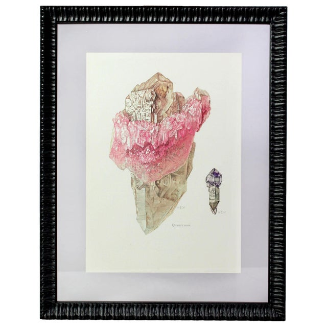 Antique French Gemstone Mineralogy Study Lithograph - Rose Quartz For Sale