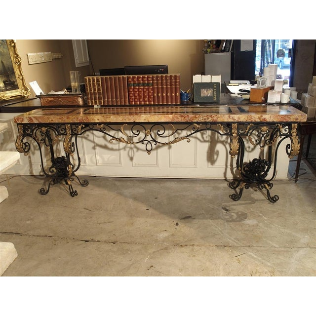 1920's French Forged Iron and Marble Console Table For Sale - Image 13 of 13