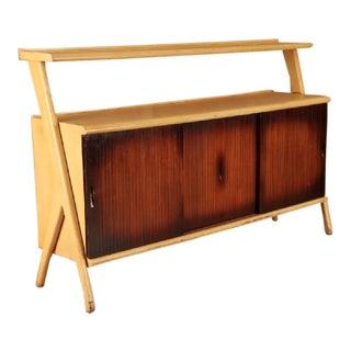 1960s Scandinavian Modern Blonde Mahogany 2-Tier Credenza For Sale