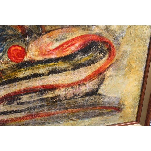 Mid-Century Modern Abstract Oil Painting - Image 5 of 9