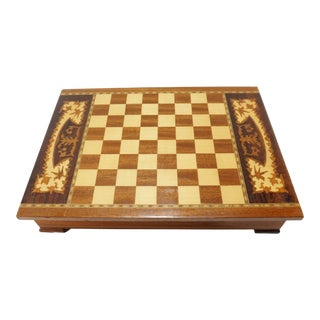 Vintage Italian Marquetry Design Wood Chess Checkers Game Board Box For Sale