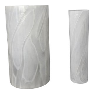 Kosta Boda Modern Cylinder White on White Blown Art Glass Vases - a Pair, Signed by Artist For Sale