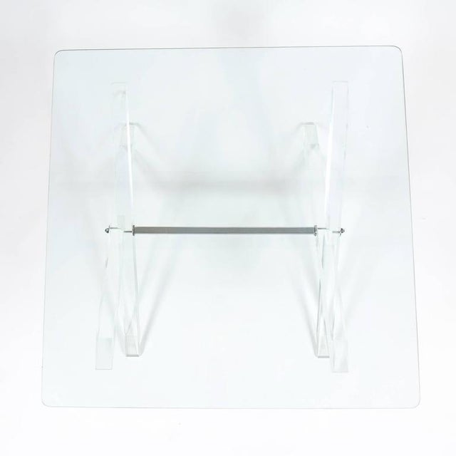 Lucite X-Frame Coffee Table, circa 1970 For Sale - Image 6 of 7