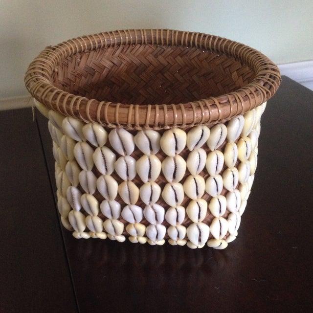 Vintage Woven Shell Basket - Image 3 of 11