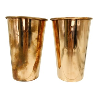 100% Pure Copper Beakers Set 2 Lot Pair Vase Shot Glasses Beer Sake Vintage Metal Antique For Sale