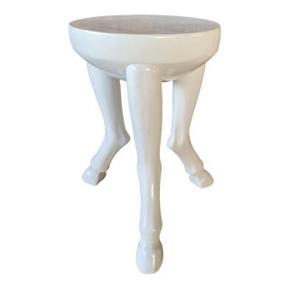 White Resin Lacquered Hoof Table For Sale