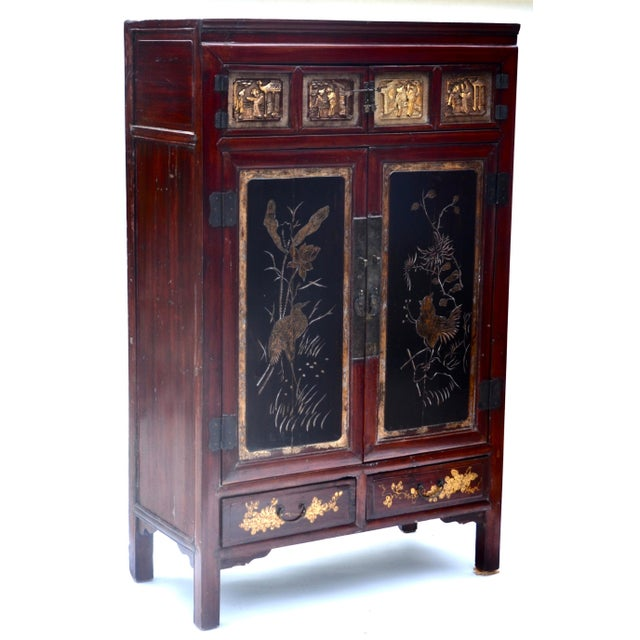 Chinese Exquisite Antique Chinese Qing Dynasty Cabinet For Sale - Image 3 of 12