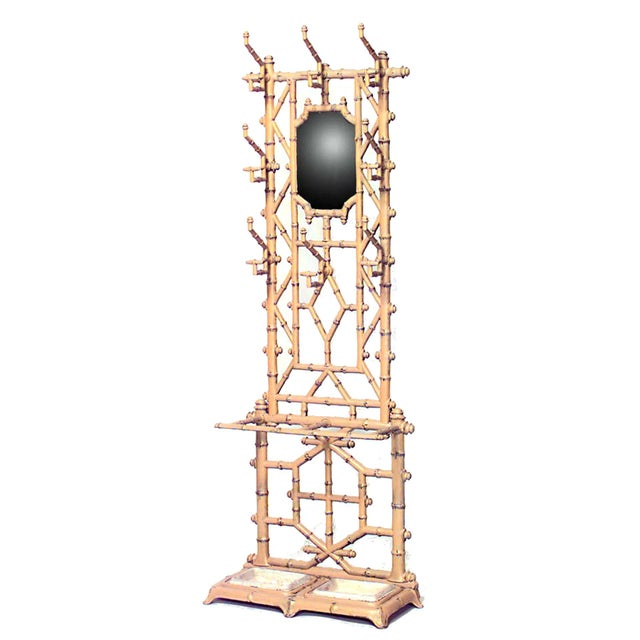 French Victorian wrought iron faux bamboo hatrack or umbrella stand with mirror.