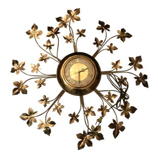 Vintage Brass United Starburst Leaf Wall Clock For Sale