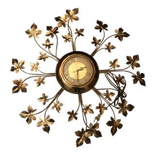 Vintage Brass United Starburst Leaf Wall Clock For Sale