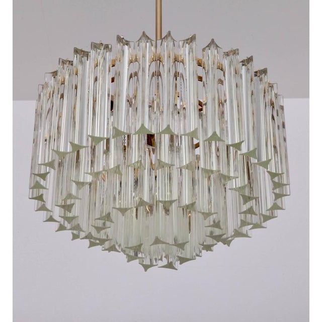 Venini Huge Murano Triedri Glass and Brass Chandelier by Venini For Sale - Image 4 of 7
