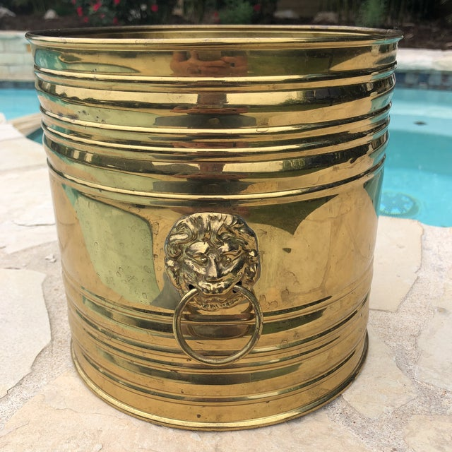 Vintage English Brass Dual Lions Head Planter For Sale - Image 10 of 10