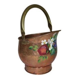 Painted Flowers & Fruit Hammered Copper Bucket For Sale