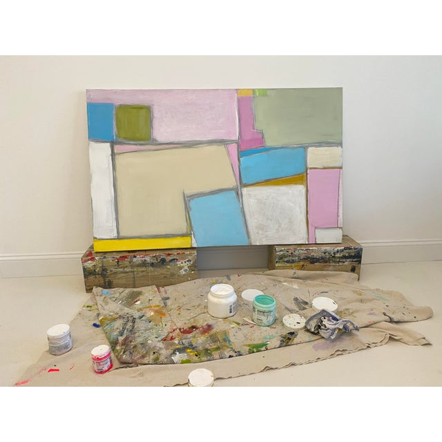 Colorful shapes form a balanced, geometric, composition. Acrylic, graphite and pastel on canvas. 30 x 48 x 1.5. Edges...