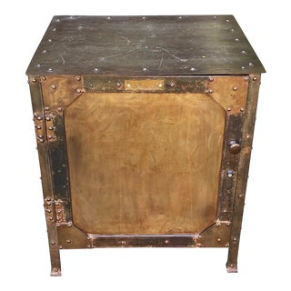Vintage Industrial Chic Wrought Iron and Steel Safe Table Cabinet For Sale